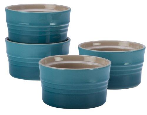 Le Creuset Stoneware Set of 4 Stackable Ramekins, 7-Ounce, Caribbean (7 Ounce Ramekin)