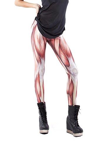 [Zanuce Women's Fashion Anime Print Leggings Pant Stretch Tights(Muscles)] (Striped Leggings Costumes)