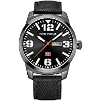 Mens Military Watches Big Face Army Field Sport Watches Quartz Analog 30M Waterproof Wrist Watches for Men with Black Nylon Band Calendar Date