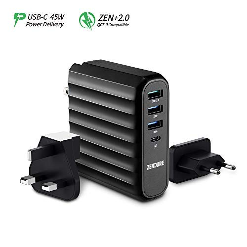 Zendure 63W USB-C PD Wall Charger, (45W Power Delivery & QC 3.0) 4-Port Fast-Charging Travel Adapter Compatible with MacBook, iPhone, Galaxy, Nintendo Switch, Zendure X6 and More - Black