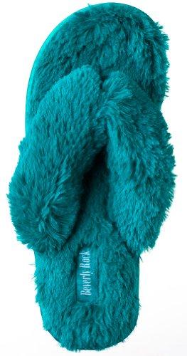 Beverly Rock Woman's New Plush Satin Spa Thong Slipper Green L (7.5 (New Slipper Sandal Flip Flop)