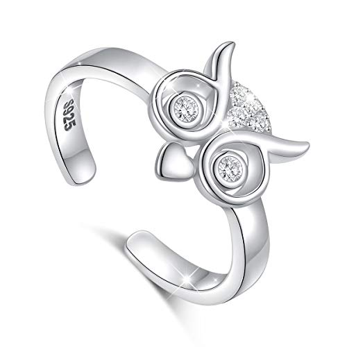 (Sterling Silver Adjustable Wrap Open Ring Lucky Owl Open Ring for Women Girls Inspirational Gift)