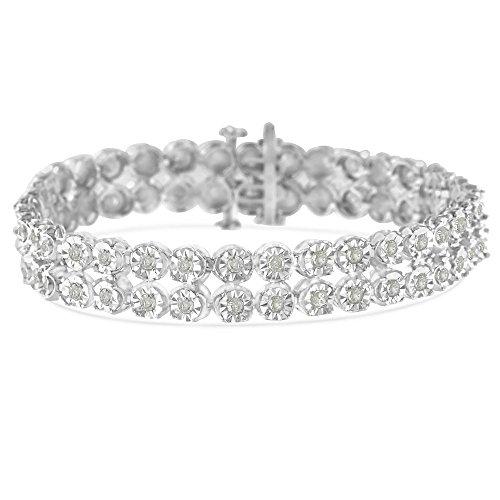 Sterling Silver 2ct TDW Rose-Cut Diamond 2-Row Link Bracelet - Diamond Tennis 2 Bracelet Carat