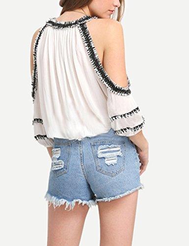 ZEARO Sexy Damen Bluse T-Shirt Oberteile Quaste Schulterfrei Batwing Ärmel Shirt Tops
