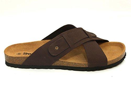 G0954B - Sandales tendance en cuir - plage/été - homme - marron