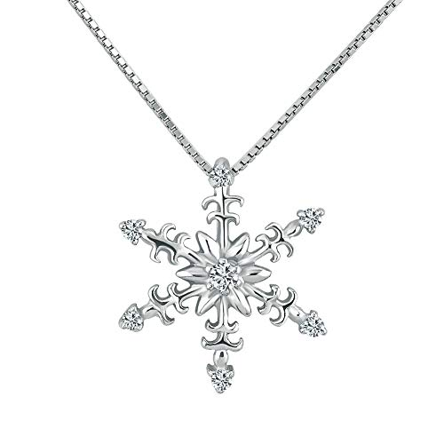 (JewelryJo 925 Sterling Silver Necklace Silver Snowflake Pendant Birthday Xmas Gifts for Women Girls)