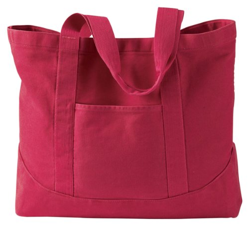 Authentic Pigment Large Canvas Tote bag, poppy, One Size