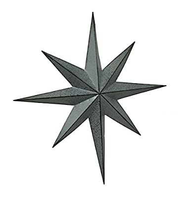 Metal Wall Sculptures Rustic Galvanized Finish Metal 8 Pointed Star Wall Hanging 25 Inch 23.5 X 25.5 X 2.5 Inches Gray