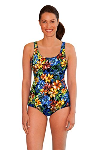 Aquamore Chlorine Resistant Oasis DD-Cup Scoop Neck One Piece Swimsuit Size 14DD