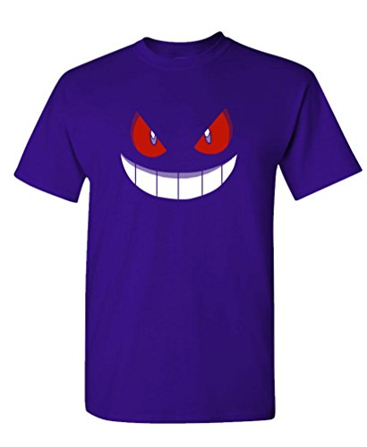 GENGAR HALLOWEEN FACE - costume funny Tee Shirt T-Shirt, L, Purple