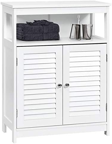 Tangkula Bathroom Floor Cabinet, Wooden Freestanding Storage Cabinet with Double Shutter Door Adjustable Shelf, Storage Cabinet for Bathroom Living Room Bedroom White