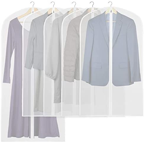 5 Pack – Simplehouseware 40-Inch Translucent Garment Bags with Zipper for Suits, Dresses, Costumes, Uniforms