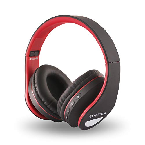e Wireless Headset, On Ear Headphone Foldable,Stereo Headset Lightweight Design, Soft, Compatible with iPods, iPhones, iPads, Smartphones, Tablets, PC and Laptops-Red Black ()
