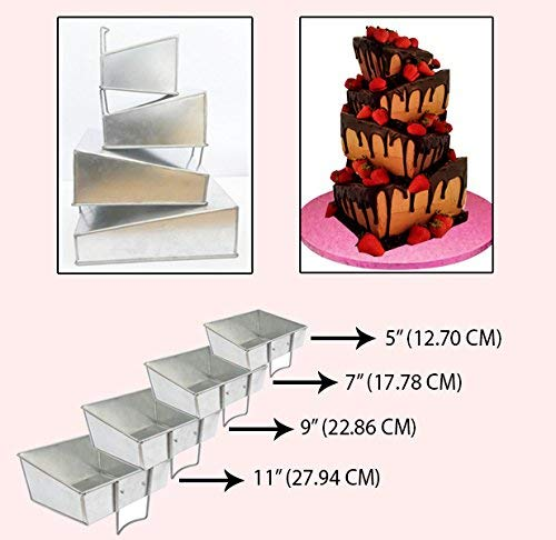 Protins Set of 4 Tier Mini Topsy Turvy Square Multilayer Birthday Cake Tins/Pans / Mold (Mould) by Hufsy