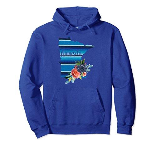 Unisex Minnesota Serape Blanket Watercolor Floral Hoodie Sweatshirt Medium Royal (Minnesota Classic Blanket)