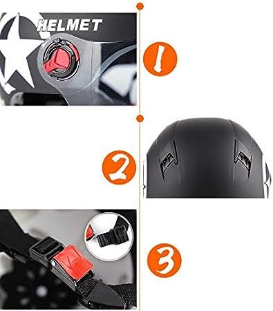 LanLan Casco Moto Estivi Unisex Moto Parasole Protezione Testa di Blocco Nero Opaco Lente Trasparente