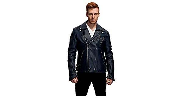 Woojo Mens Real Genuine Lambskin Leather Black Jacket WJ122
