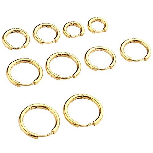 JOVIVI 10pc 8-16mm 18G Unisex Stainless Steel Huggie Hinged Hoop Earrings Piercing Jewelry, Silver Black Gold Color