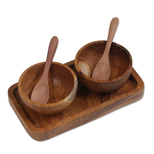 NOVICA Brown Handmade Teakwood Condiment Bowl Set with Tray, 'Double Delight'