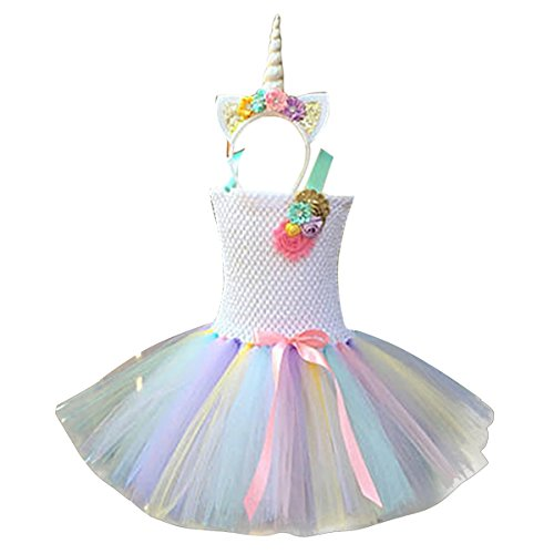Freebily Girls Cartoon Skirt and Headband Cosplay Costume Halloween Party Outfits Colorful(Type B) 2-3