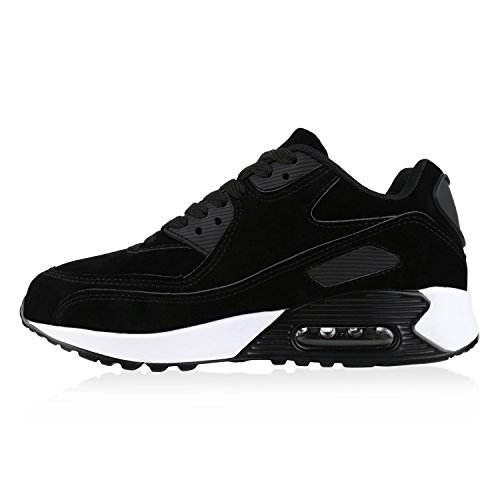 Stiefelparadies Damen Herren Unisex Sportschuhe Runners Sneakers Laufschuhe Trendfarben Flandell Schwarz Brooklyn