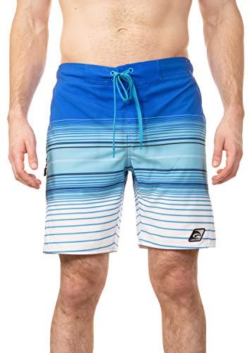 LAGUNA Mens Summer Multicolor Stretch Stripe Boardshorts Swim Trunks, UPF 50+, Blue/White, M (Laguna Stripe)