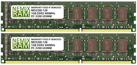 2GB (2 X 1GB) DDR 400MHz PC3200 184-pin Memory RAM DIMM for Desktop - 184 Memory Pc Pin