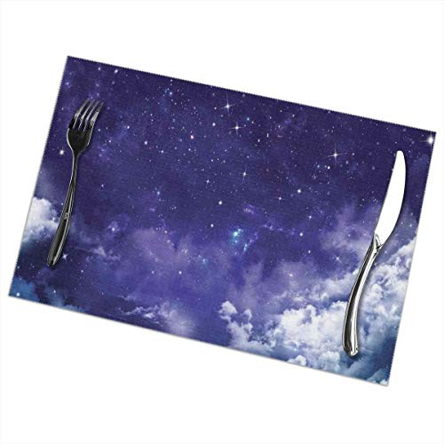 VANMASS Space Stars Clouds Placemats for Dining Table Set of 6 Heat Insulation Stain Resistant Non Slip