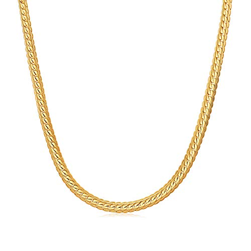 WINNICACA 24K Gold Plated Italy Chain Necklace for Mens Cuban Snake Chain Necklace for Womens Mens Girls 18-28inch,3mm-6mm Wide,Christmas Friendship Gifts