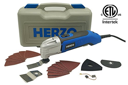 HERZO Power Oscillating Multitool Kits 2.5Amp - 18 Oscillating Tool Accessories Kits - Carry Storage