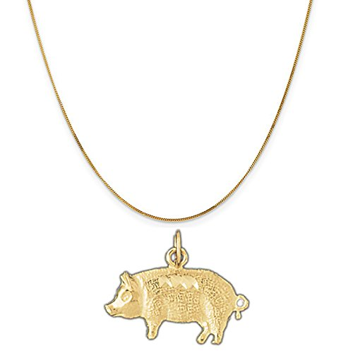 14k Yellow Gold Pig Pendant on a 14K Yellow Gold Curb Chain Necklace, 20