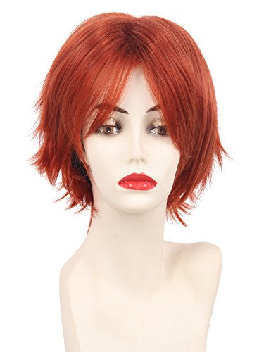 HAIRSW Short Straight Game Mystic Messenger 707 Cosplay Costume Wig with Bangs Red Hair For Halloween Party]()
