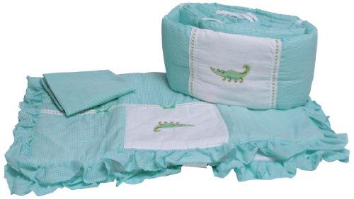 Baby Doll Bedding Gingham Mini Crib/ Port-a-Crib Bedding Set, Alligator (Gingham Bedding Baby)