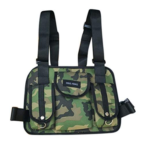 Fashion Chest Rig Bag,Crytech Tactical Radio Chest Harness Multipurpose Front Chest Pack Pouch Holster Vest Rig Sport Backpack Daypack for Two Way Radio Walkie Talkie for Women Men (Camouflage)