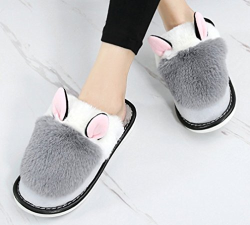 Cattior Womens Animal Warm Hot Slippers Ladies Indoor Slippers Grey