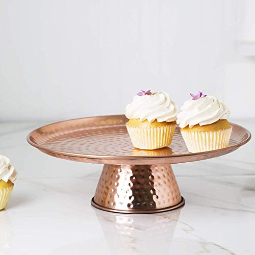 - Elegant Copper Cake Stand, 12' Cake Pedestal Stand - Desert Serving Tray for Birthday, Wedding Party and Events
