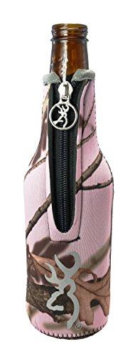 BT Outdoors Browning Pink Camo Zipper Cozy Buckmark Bottle Huggie Beverage Insulator Cooler