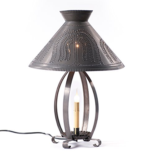 Betsy Ross Lamp with Willow Shade in Blackened Tin by Irvin's Country Tinware