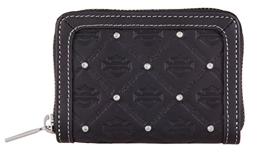 Harley-Davidson Women's B&S Embossed Leather Zip-Around Wallet -