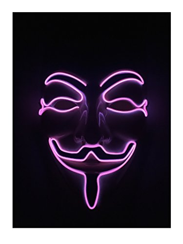 EL Wire Halloween Cosplay Led Mask Light Up Mask for Festival Parties Christmas Gifts Birthday Party Gift Any Parties (one size, Pink (Christmas Masks)