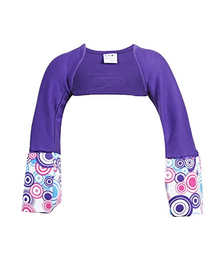 ScratchMeNot Flip Mitten Sleeves, Sensitive - Organic Cotton Baby Girls' Stay On Scratch Mitts - Purple Sunshine, 12M