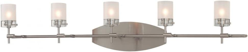 B000LS3KOO George Kovacs P5015-084 Shimo 5 Light Bath with Clear/Acid Etched Glass Vanity with 6 G9 Xenon Bulbs, Brushed Nickel 417Y92BOl6dL.SL1000_