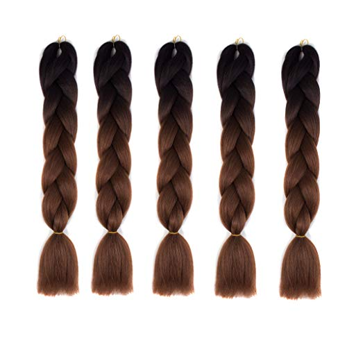 Jumbo Braids-Premium Quality 100% Kanekalon Braiding Hair Extension Full Bundles 100g/pc Synthetic Hair Ombre 24Inch 5Pcs/lot Heat Resistant - Pony Yaki Braids