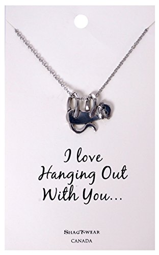 Shagwear Favourite Animals Inspirations Quote Pendant Necklace (Hanging Monkey Pendant)