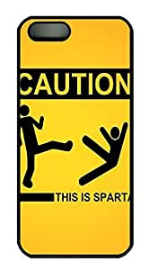 iPhone 5 5S Case Sign Caution This Is Sparta Funny PC Custom iPhone 5 5S Case Cover Black