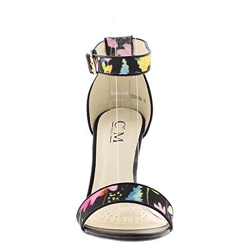 ChaussMoi Sandales Noires Colorées à Talon Fins DE 10,5cm