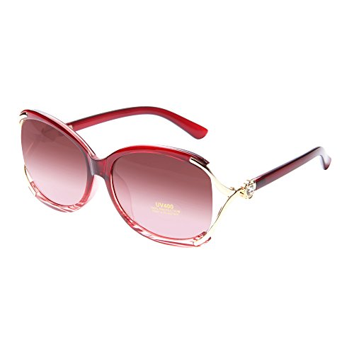 LianSan Womens Round Oversized Designer Vintage Sunglasses with UV Protection 1558 stripe red new