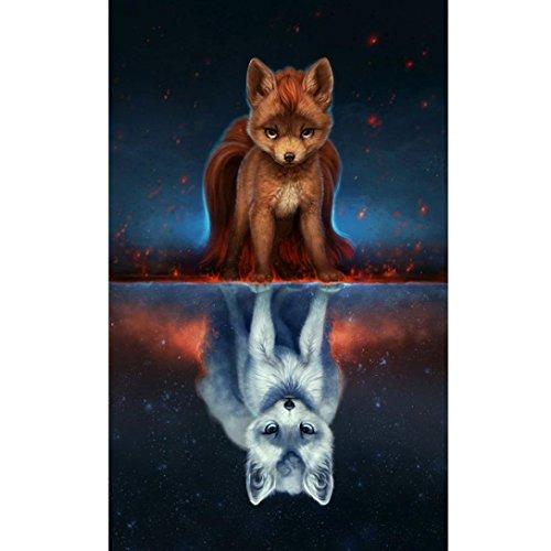 (Gocheaper 5D DIY Diamond Painting Embroidery Square Diamond Home Decor Gift-Fox)