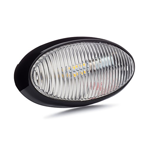 Lumitronics LED RV Oval Porch Utility Light - Black Base, Clear Lens For Clear Lighting At Night. Be Safe While On The Road. Great for Campers, Trailers, 5th Wheels. (Rv Interior Light Lens Cover compare prices)