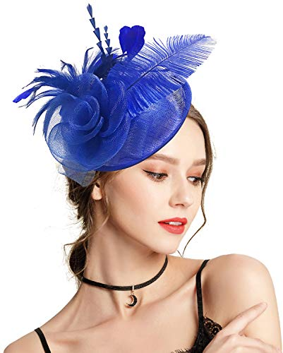 (Z&X Sinamay Fascinator Headband Mesh Feather Flower Cocktail Pillbox Hat (Royal Blue))